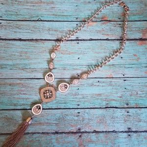 Charming Charlie Rose Gold & White Necklace